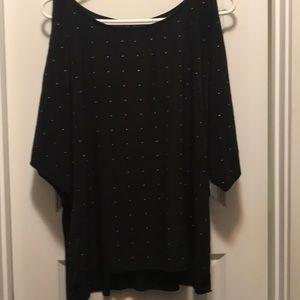 Calvin Klein black cold-shoulder blouse